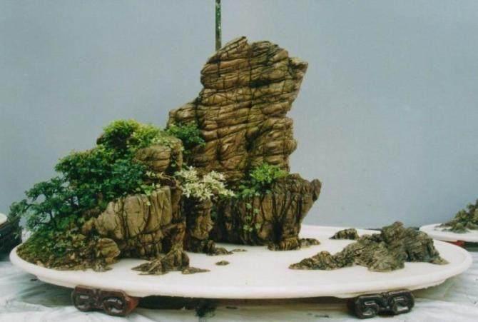 山水盆景的石头可以染色 着色?