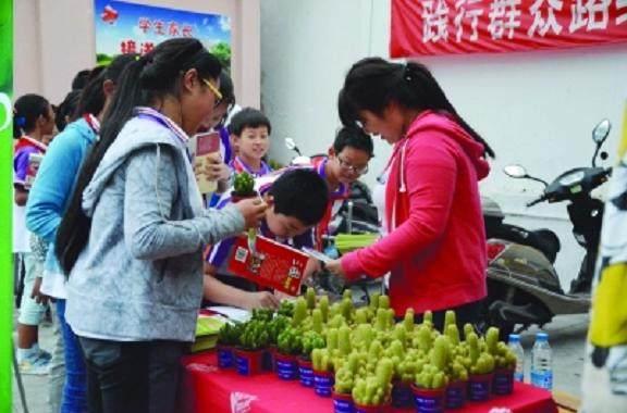 无锡广勤中学开展一本图书换盆景的活动