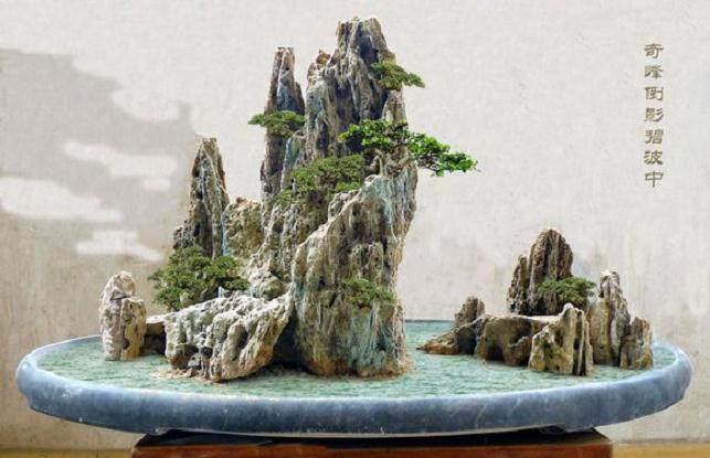 山水盆景《欸乃一声山水绿》