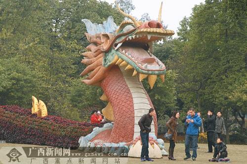 """南宁动物园:60米""""巨龙""""盆景雕塑吸引众多游客"""