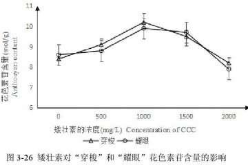 矮壮素对百合花盆栽色素苷含量的影响