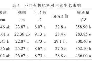 不同有机肥料对盆栽蔬菜品质的影响